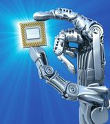 Stock Illustration of robot keeps fantasy chip or processor. high technology 3d illustration