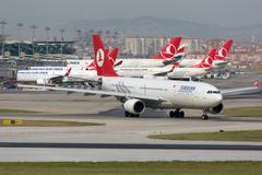 turkish airlines airbus a330-200 istanbul airport - stock photo