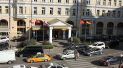 Entrance to Baltschug Kempinski hotel  Stock Footage