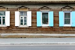 Wall of the aged wooden hut in Astrakhan, Russia Stock Photos
