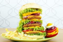 Big hamburger with french fries and salad Stock Photos