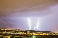 thunder and lightning storm - stock photo