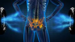 human skeleton radiography scan on hologram - stock footage