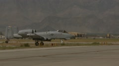 A-10 Thunderbolt ll flight operations at Bagram Airfield, Afghanistan Stock Footage