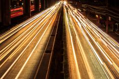 nighttime highway - stock photo