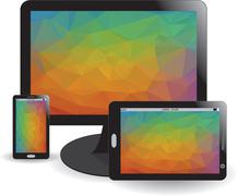 Mobile phone, display and tablet Stock Illustration