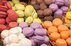 candy colored macarons - stock photo