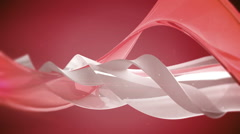 Red 3D abstract waves. Loop. Stock Footage