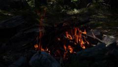 Camp Fire in National Park Pirin Stock Footage