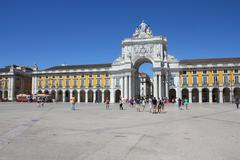 Lisbon, portugal - september 9: rua augusta arch at praca do comercio on sept Stock Photos