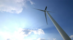 time lapse wind turbines, blue sky and clouds running background - stock footage