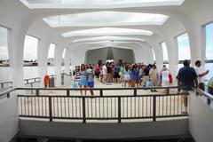 pearl harbor, oahu, hawaii - september 20: people visit uss arizona memorial - stock photo