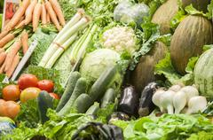 Group of green vegetables and fruit Stock Photos