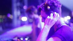 DJ works in concert Stock Footage