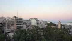 Athens Piraeus Greece port apartments sunrise 4K 008 Stock Footage