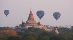Balloons Over Ananda Temple in Bagan, Myanmar (Burma) Stock Footage