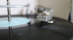Close up of Record Player and Spinning Album Stock Footage