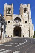 lisbon, portugal - may 26, 2013: the see cathedral of lisbon (se de lisboa),  - stock photo