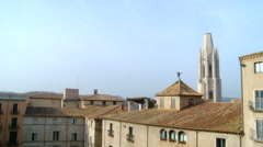 Skyline of the old town of Girona from above Stock Footage