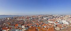"view of the historical lisbon ""baixa"" (downtown) and tagus river, from the  - stock photo"