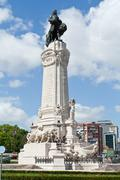 Statue of the marques do pombal in the roundabout with the same name in lisbo Stock Photos