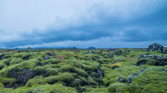 Clouds moving over moss covered volcanic lava rock, Iceland 4k Stock Footage