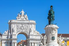 King dom jose i statue and triumphal arch, lisbon Stock Photos