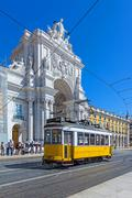 Lisbon, portugal. august 31, 2014: typical tram in commerce square, lisbon, p Stock Photos