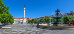 Dom Pedro IV Square, aka Rossio Square, Lisbon - stock photo