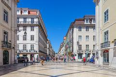 lisbon, portugal. august 31, 2014: augusta street in the downtown district, k - stock photo