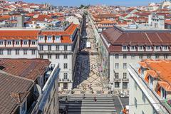 Lisbon, portugal. august 31, 2014: aerial view of the augusta street and the  Stock Photos