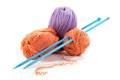 spokes and threads for knitting isolated - stock photo