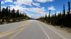 POV Driving Outdoor Travel Destination Icefields Parkway Wilderness Landscape Stock Footage