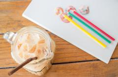 fresh up coffee break on artist work table - stock photo