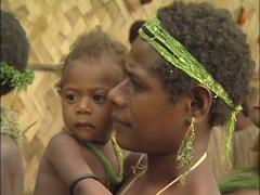 Mother and Child in Primitive Village Stock Footage