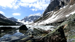 Frozen Glacial Water Mountains Valley Travel Activity Hiking Destination - stock footage