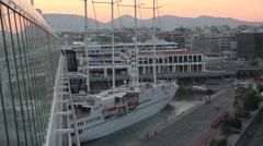 Wind Star sailing ship arrive Athens Piraesus Port fast 4K 010 Stock Footage