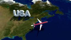 Airplane flight path from USA (New York) to Great Britain and return Stock Footage