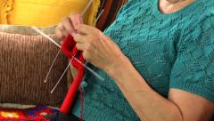 Grandma hand knit sock with five needle, close up. Stock Footage