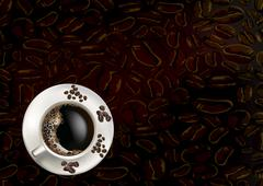 coffee beans and coffee cup - stock illustration