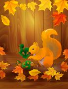 squirrel with hazelnuts - stock illustration