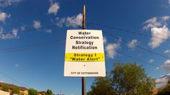 Sign- Water Conservation Strategy Notification- Cottonwood AZ Stock Footage