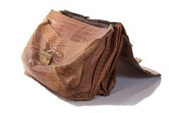 old portfolio from a crocodile leather isolated - stock photo