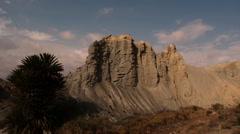 Badlands landscape with blue sky Stock Footage