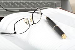 Organizer, glasses,pen and notebook Stock Photos