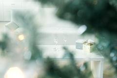 Champagne and gifts on coffee table, selective focus - stock photo
