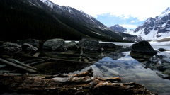 Outdoor Recreation Glacial Lake Moraine Canada Mountains Rugged Remote Beauty - stock footage