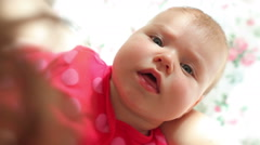 Three month old baby in mother arms Stock Footage