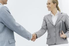 Businesswoman shaking hands with businessman, cropped side view - stock photo