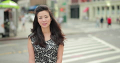 Young Asian Woman smiling happy face in city 4k - stock footage